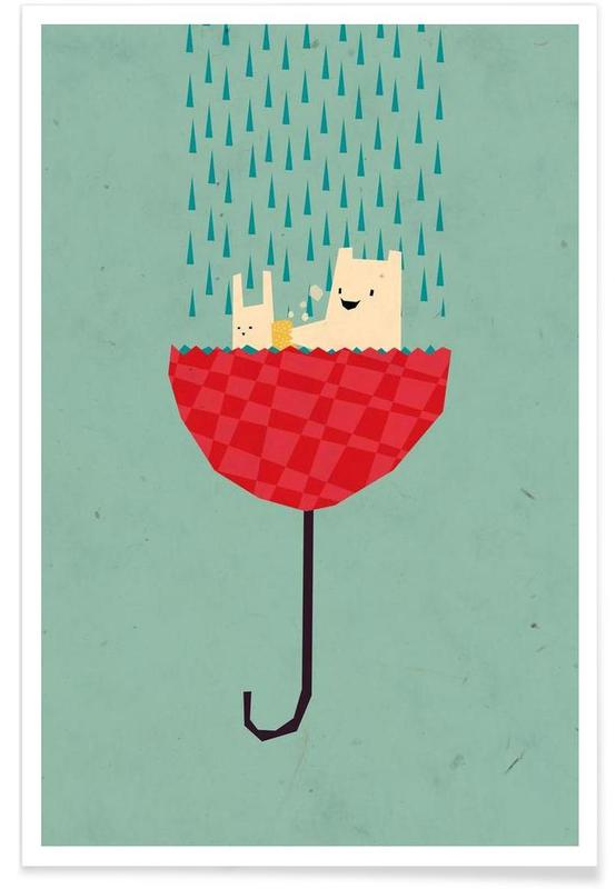 Umbrella bath time! Poster