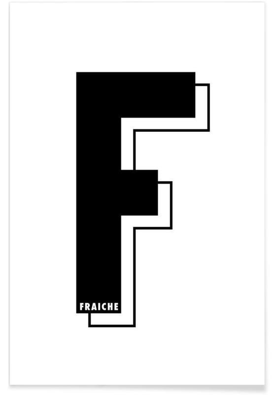 Lettre F I black on white Poster