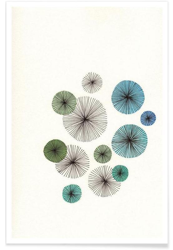 Line Art Blossom blue affiche