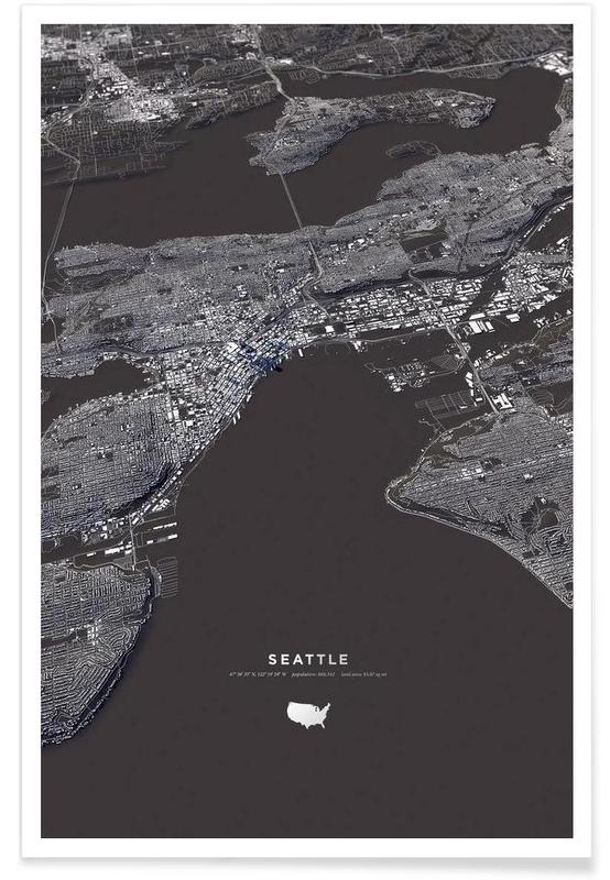 Seattle 3-D City Map Poster