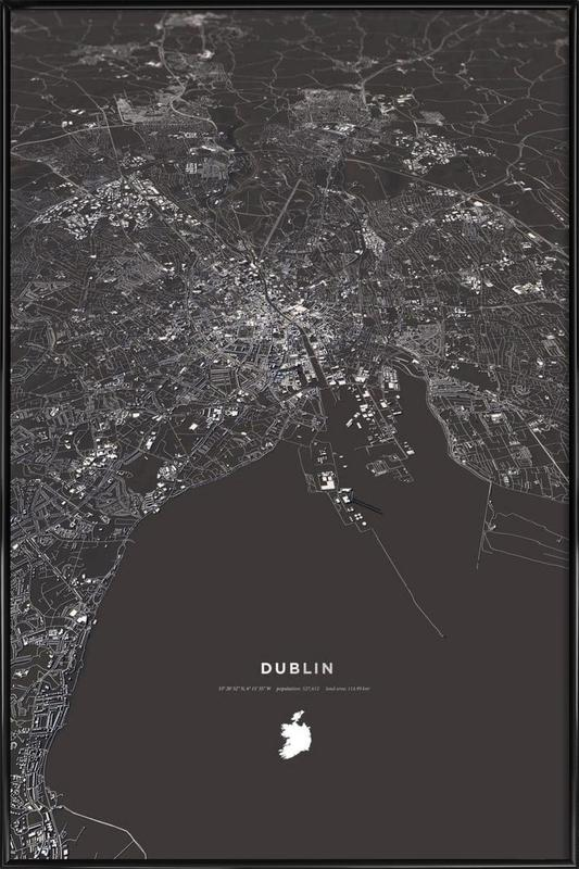 Dublin City Map -Bild mit Kunststoffrahmen