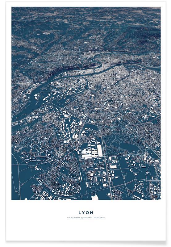 Lyon 3-D Map Poster