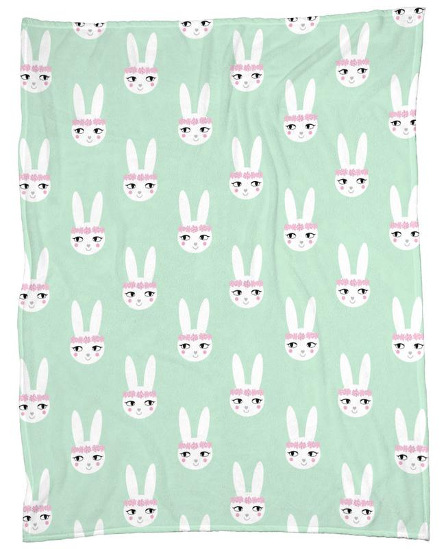 Easter Bunny Mint Fleece Blanket