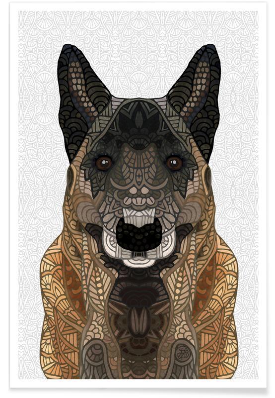 Geometric Belgian Shepherd Poster
