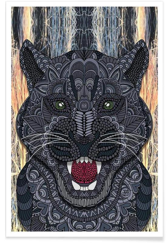 Geometric Panther Poster