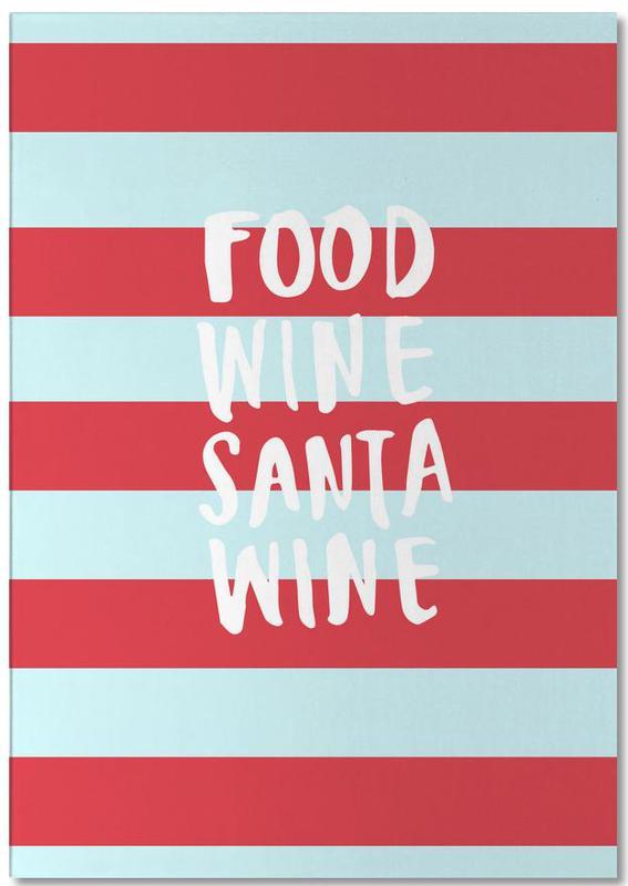 Food, Wine, Santa, Wine Notepad