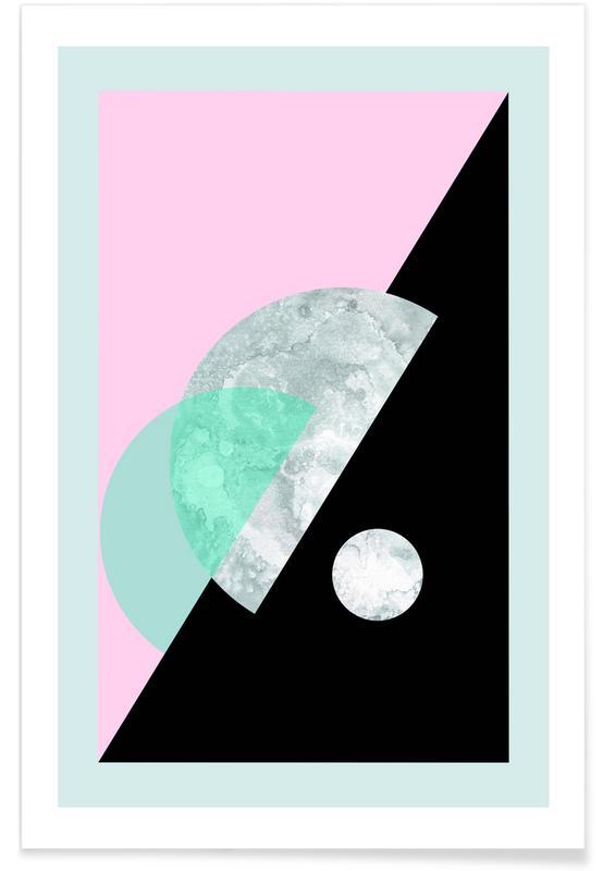 Pastel Moon Geometric -Poster