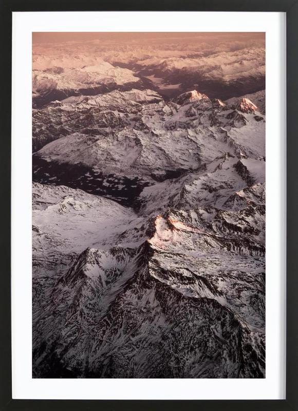Pink Mountains -Bild mit Holzrahmen