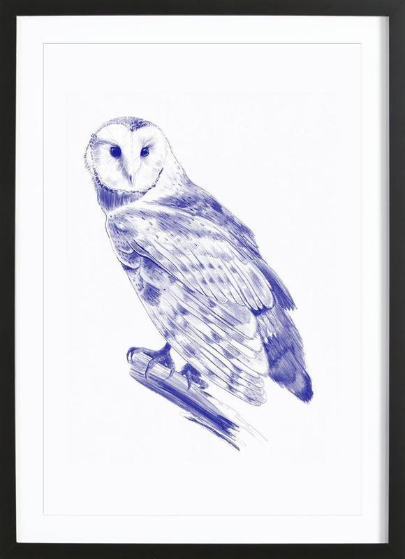 Curious Owl -Bild mit Holzrahmen