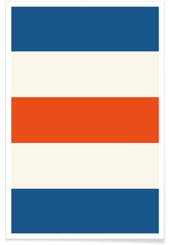 Rayures bleues et orange affiche