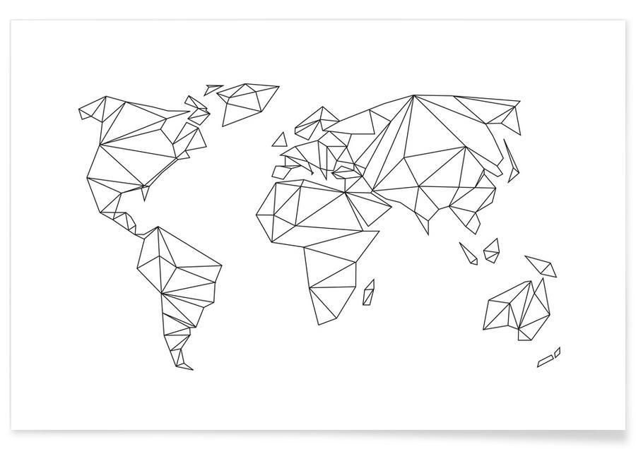 Monde géométrique blanc affiche