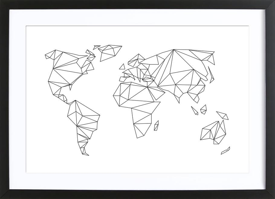 Geometrical World - white affiche sous cadre en bois