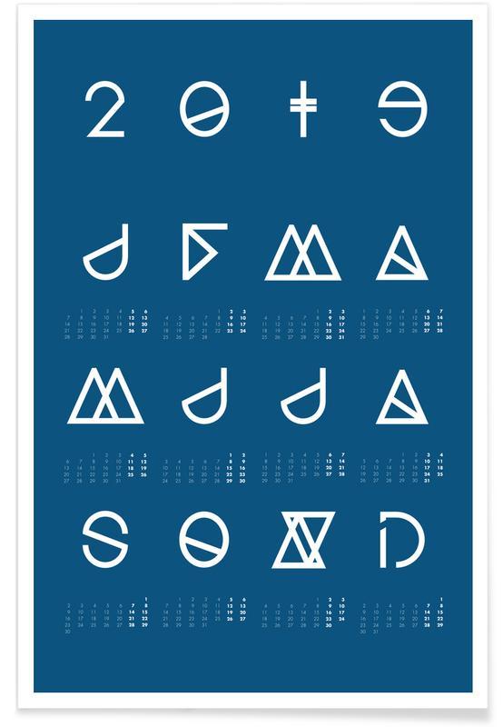2019 Geometrical Calendar Indigo -Poster