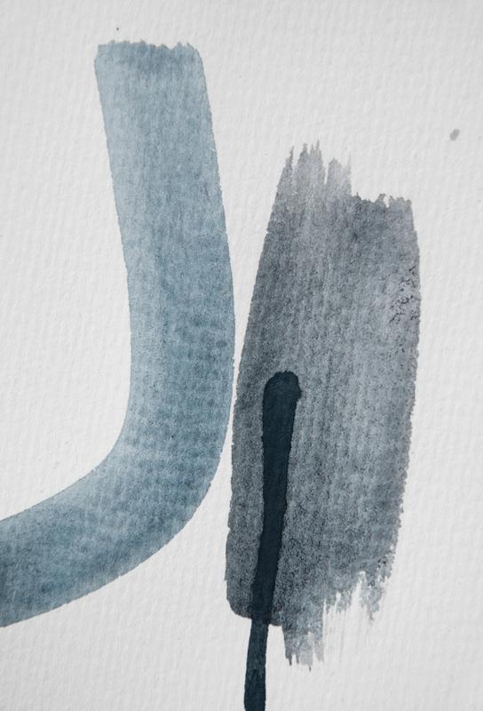 Aquarelle Meets Pencil - Blue and Black Acrylic Print