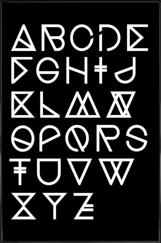Geometrical ABC - black Framed Poster