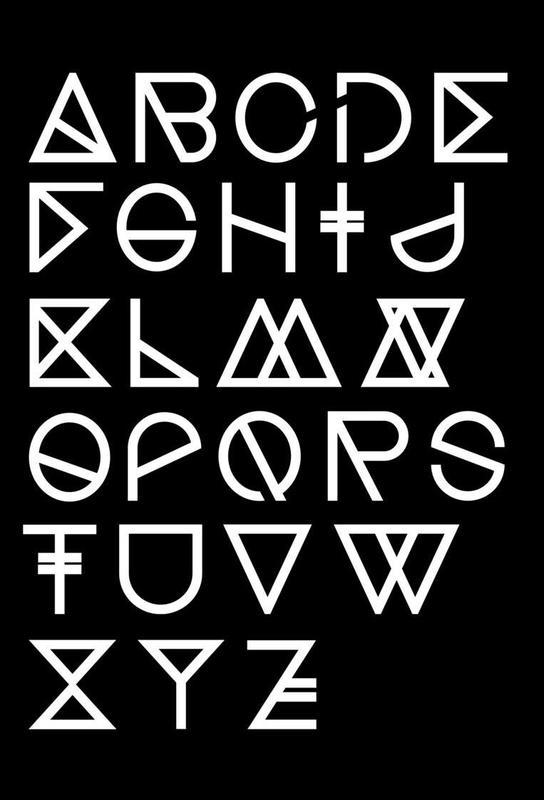 Geometrical ABC - black Acrylic Print