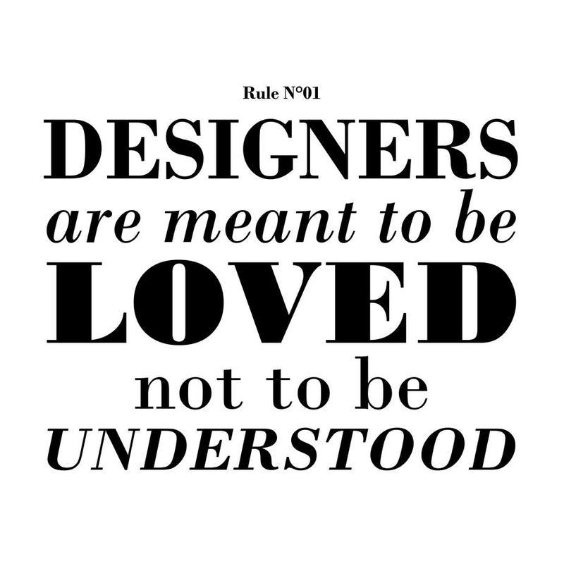 Rule 01 - Designer are meant.. Aluminium Print