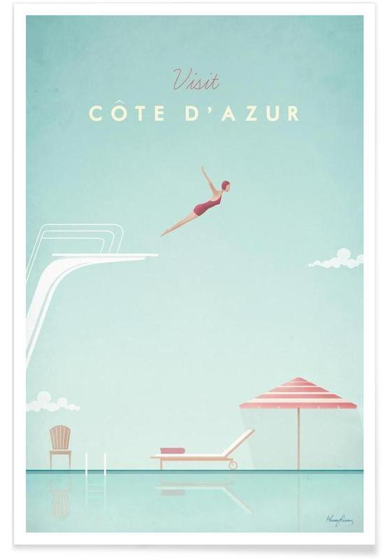 Vintage Côte d'Azur Travel Plakat