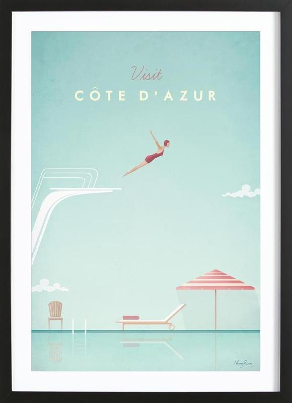 Côte d'Azur affiche sous cadre en bois