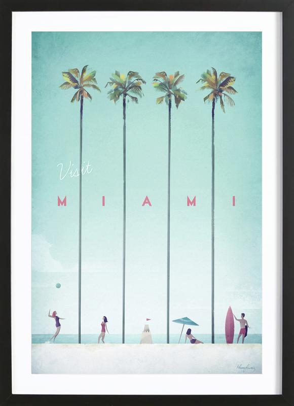 Miami affiche sous cadre en bois