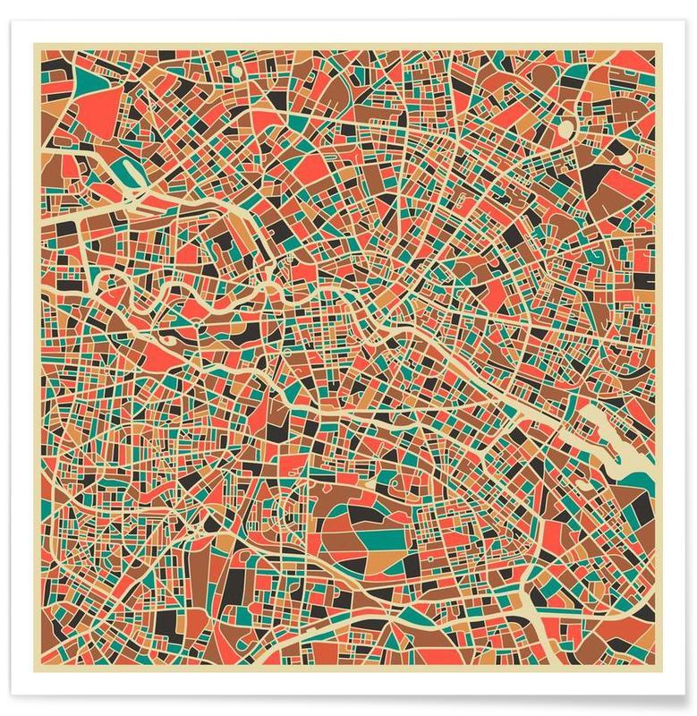Berlin - Carte colorée affiche