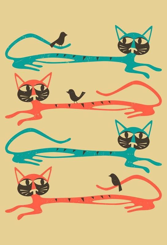 Birds on a cat -Acrylglasbild