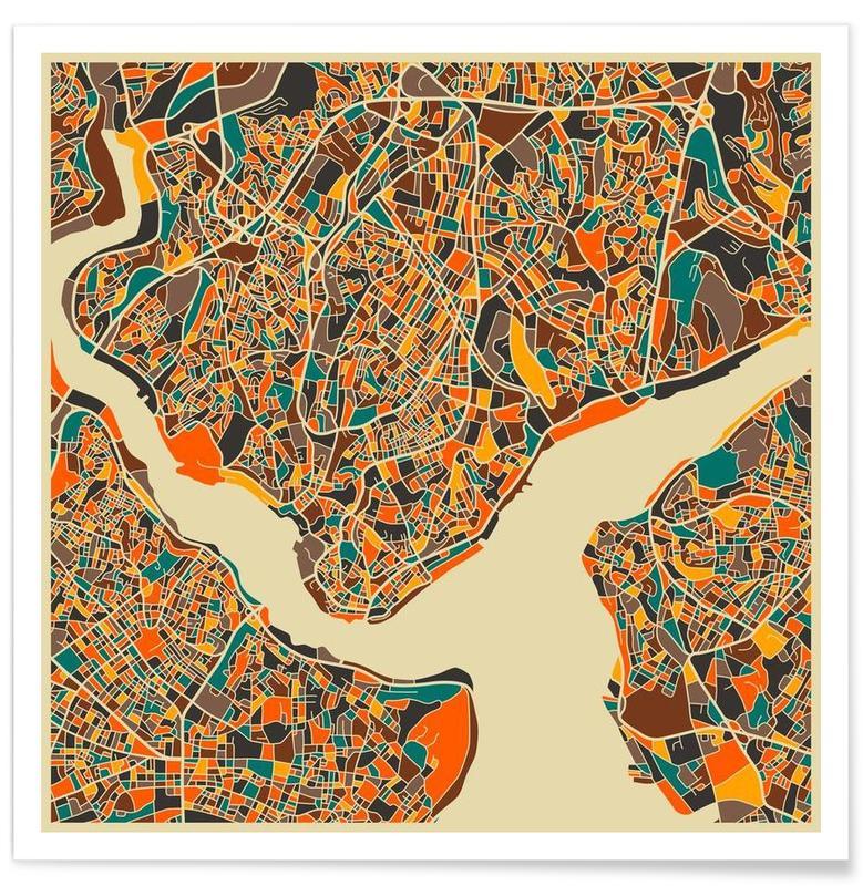Istanbul kleurrijke kaart poster