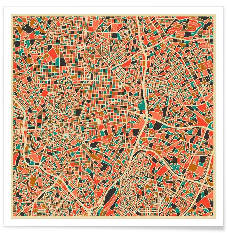 Madrid - Carte colorée affiche