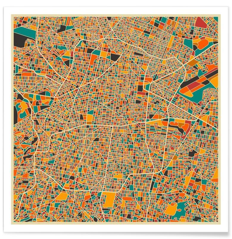 Bunte Mexiko-Stadt-Karte -Poster
