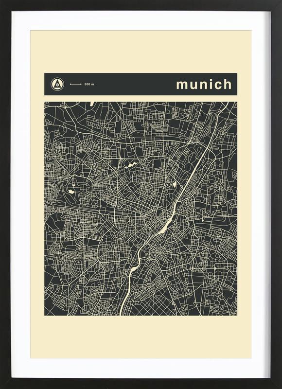 City Maps Series 3 Series 3 - Munich -Bild mit Holzrahmen