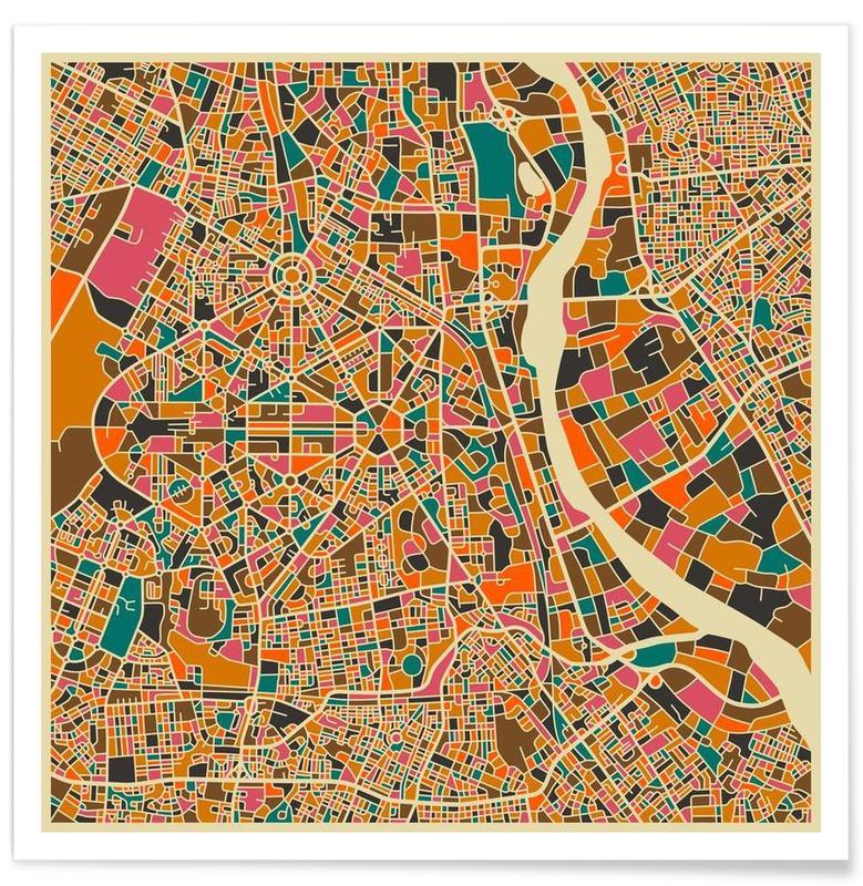 New Delhi - kleurrijke kaart poster