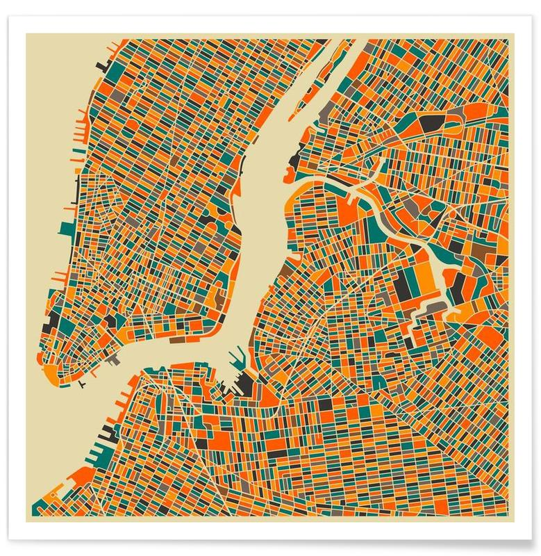 New York - Carte colorée affiche