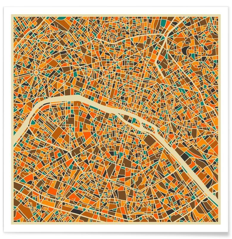 Bunte Paris-Stadtkarte -Poster