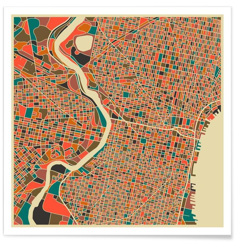 Philadelphia Colourful Map Poster