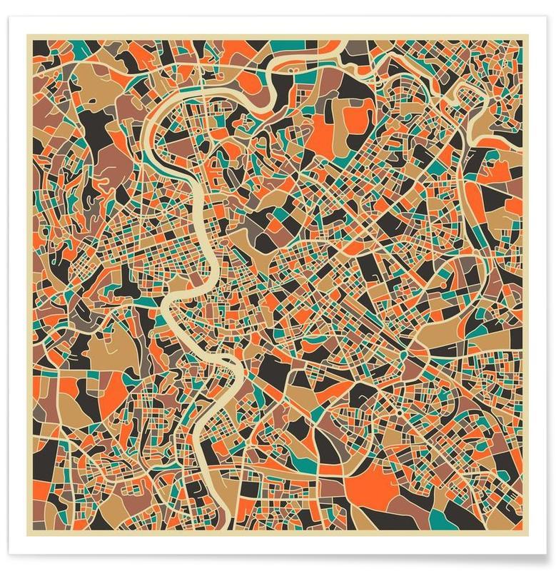 Rome - Carte colorée affiche