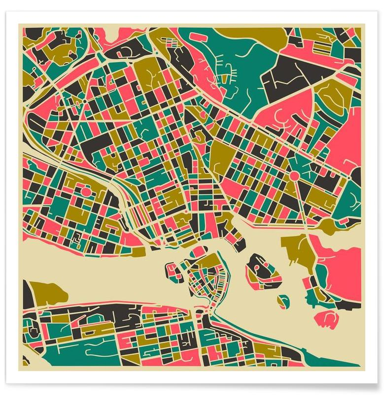 Stockholm Colourful Map Poster