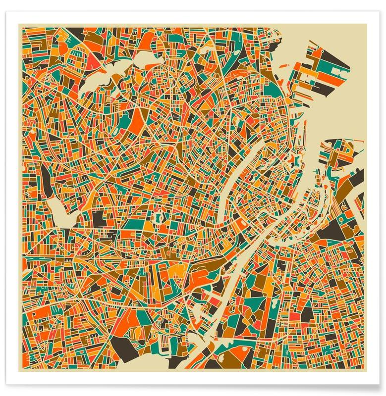 Copenhagen Colourful Map Poster