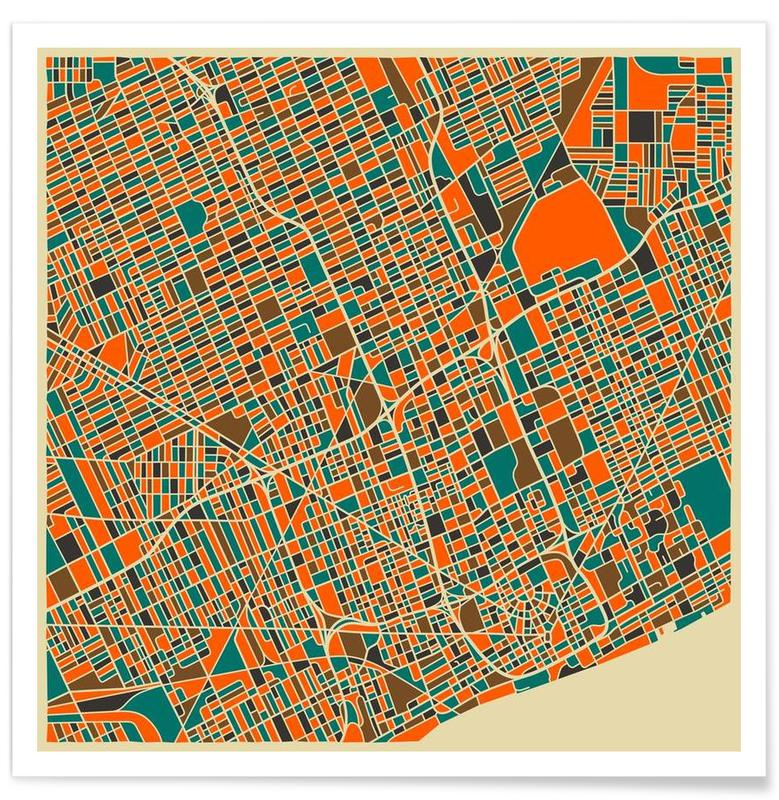 Detroit Colourful Map Poster