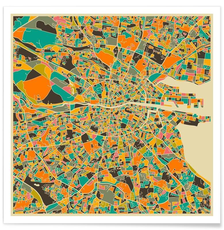 Gris Dublin - kleurrijke kaart poster