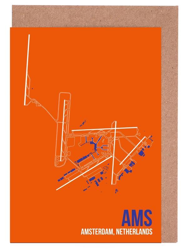 AMS Airport Amsterdam -Grußkarten-Set