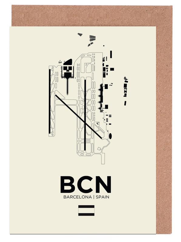 BCN Airport Barcelona -Grußkarten-Set