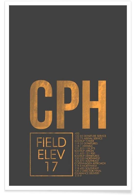 CPH Kopenhagen-Gepäckanhänger -Poster