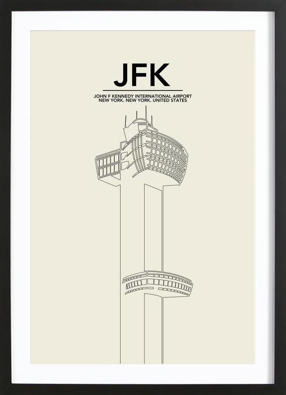 JFK New York Tower affiche sous cadre en bois