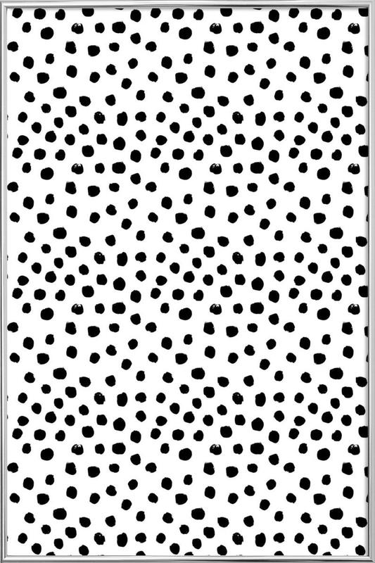 Dots Black And White Poster in Aluminium Frame