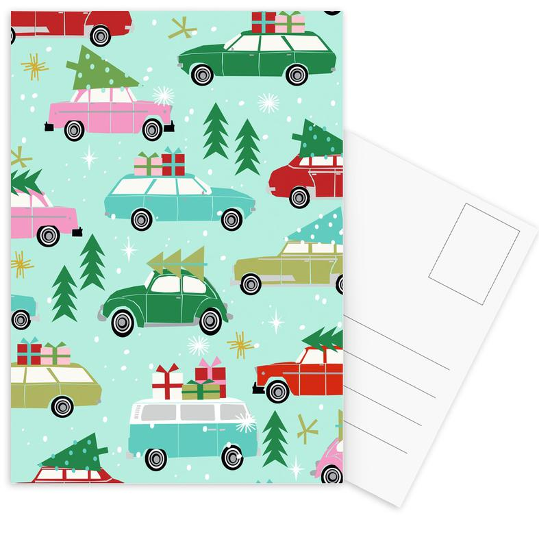 Christmas Cars Postcard Set