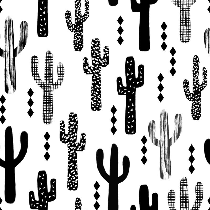 Cactus Black Canvas Print
