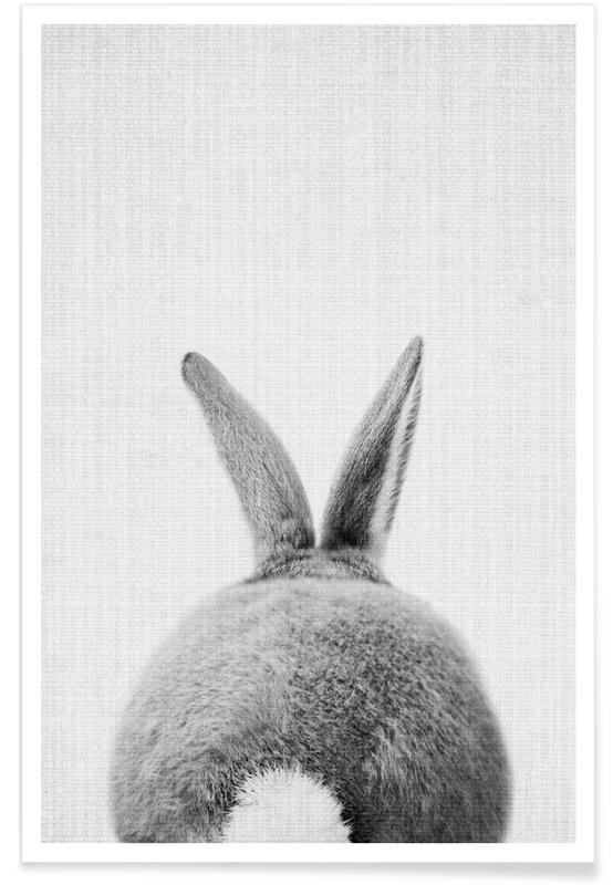 Konijnenstaart - monochrome foto poster