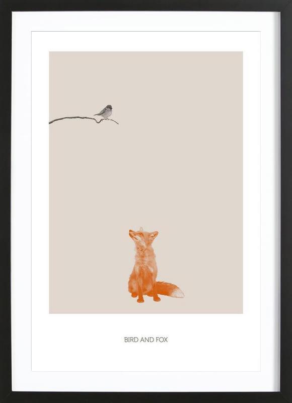 Bird And Fox -Bild mit Holzrahmen