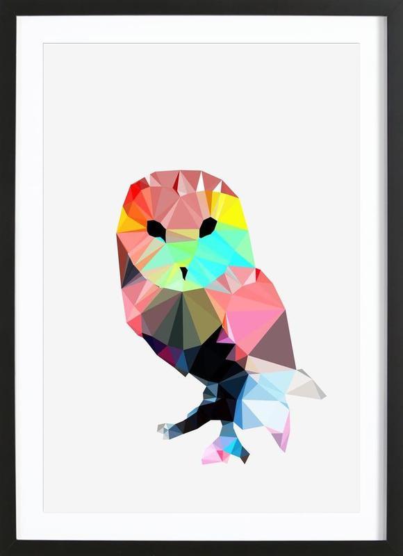 Crystal Owl -Bild mit Holzrahmen