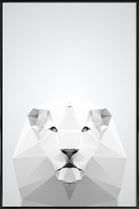 Geo White Lion Framed Poster